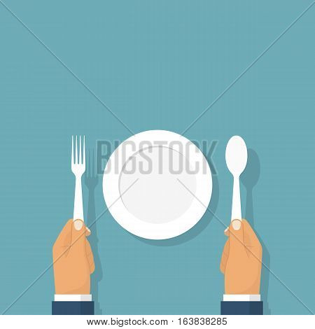 Spoon fork holding in the hands of men. Sitting at a table in front of an empty plate, template. Top view. Vector illustration flat design. Isolated on background.