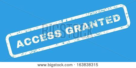 Access Granted Text rubber seal stamp watermark. Tag inside rectangular banner with grunge design and dirty texture. Slanted glyph white ink sticker on a blue background.