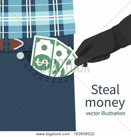 Steal money concept. Pickpocket in gloves stealing out of pocket businessman cash. Money, dollars hold in hand. Vector illustration flat design. Isolated on white background. Criminal financial fraud.