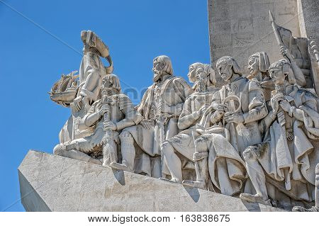 Portugal Lisbon. Monument to the Discoveries - the monumental ensemble in Lisbon dedicated to the outstanding figures of the Portuguese Age of Discovery