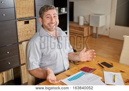 Man Resigning And Laughing Over Finance Documents