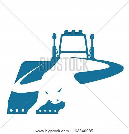 vector illustration consisting of  images showing the silhouette of a buffalo and a bulldozer