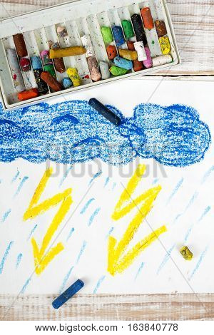 colorful heand drawing and crayons - thunderstorm