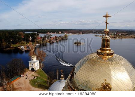 Gold domes of church