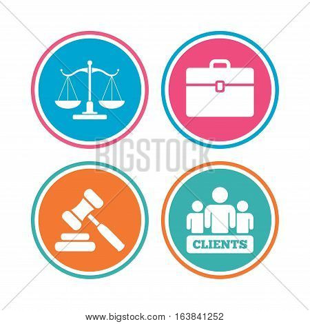Scales of Justice icon. Group of clients symbol. Auction hammer sign. Law judge gavel. Court of law. Colored circle buttons. Vector