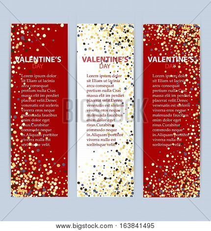 Valentine's day banners set.Red and white banner.Gold glitter with place for text.