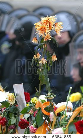 Fresh flowers on a barricade against the backdrop of the Police in a special form for the crackdown. Orange revolution. Ukraine. Kiev. 2004-12-02