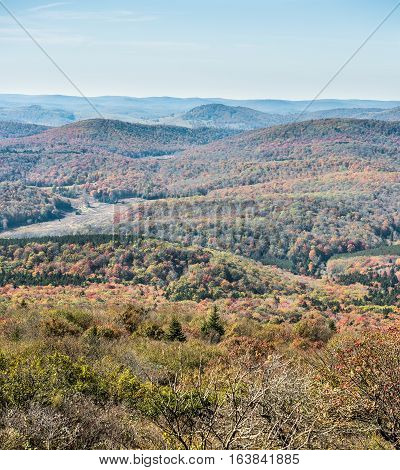 Appalachian mountain valley view in West Virginia from Spruce Knob