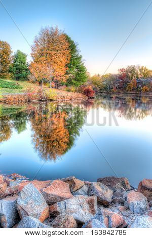 Sunrise on Braddock lake in Burke Virginia USA with vertical reflection in autumn and orange tree