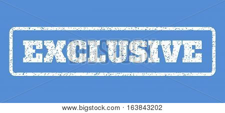 White rubber seal stamp with Exclusive text. Vector caption inside rounded rectangular banner. Grunge design and dust texture for watermark labels. Horisontal sticker on a blue background.
