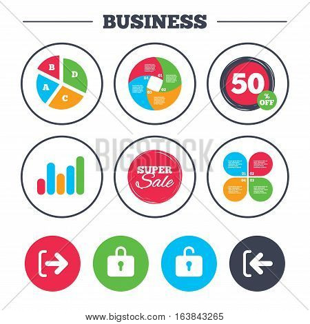 Business pie chart. Growth graph. Login and Logout icons. Sign in or Sign out symbols. Lock icon. Super sale and discount buttons. Vector