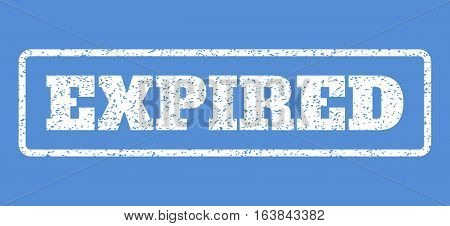 White rubber seal stamp with Expired text. Vector caption inside rounded rectangular banner. Grunge design and scratched texture for watermark labels. Horisontal sign on a blue background.