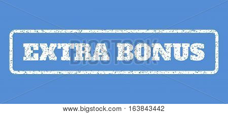 White rubber seal stamp with Extra Bonus text. Vector caption inside rounded rectangular banner. Grunge design and dirty texture for watermark labels. Horisontal emblem on a blue background.