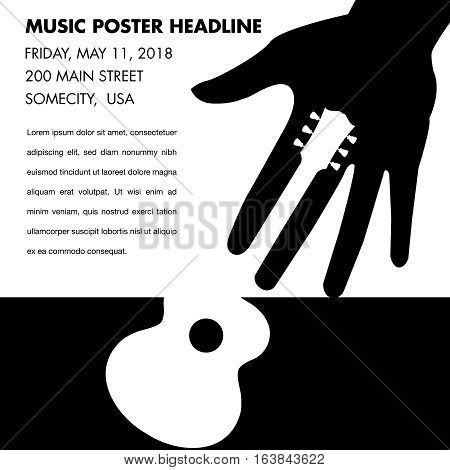 Unusual guitar poster, ideal for music gig announcements with space for text