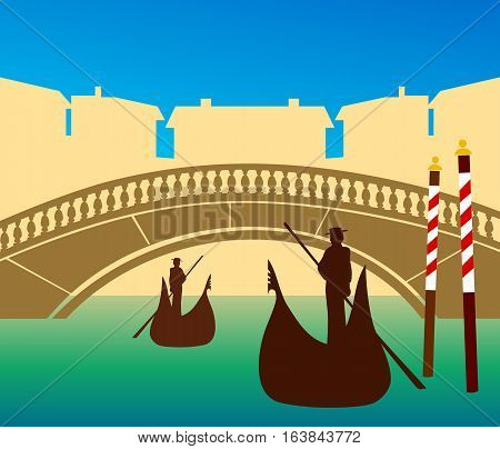 Tourism poster style image of Venice with gondolas