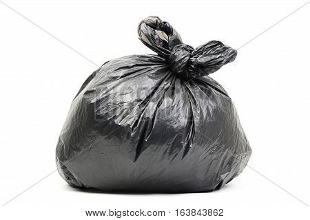 Black garbage bag isolated on a white
