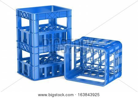 empty blue plastic storage boxes crates for bottles. 3D rendering isolated on white background