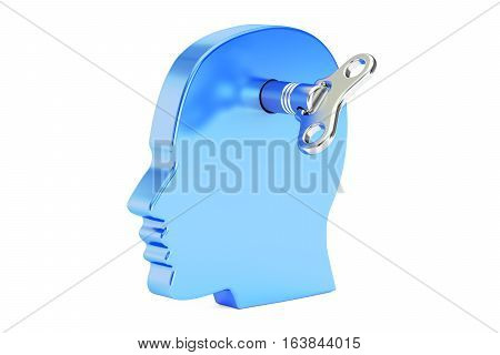 head with wind-up key 3D rendering isolated on white background
