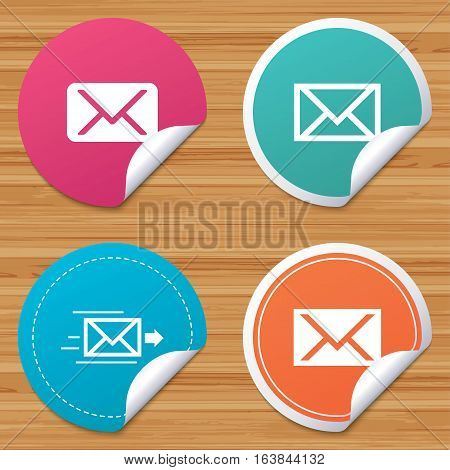 Round stickers or website banners. Mail envelope icons. Message delivery symbol. Post office letter signs. Circle badges with bended corner. Vector