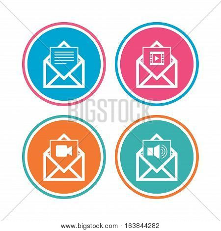 Mail envelope icons. Message document symbols. Video and Audio voice message signs. Colored circle buttons. Vector