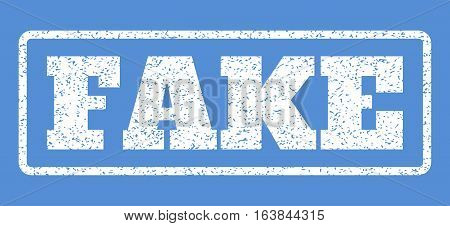 White rubber seal stamp with Fake text. Vector tag inside rounded rectangular frame. Grunge design and dirty texture for watermark labels. Horisontal sign on a blue background.