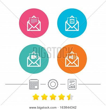 Mail envelope icons. Message document symbols. Video and Audio voice message signs. Calendar, cogwheel and report linear icons. Star vote ranking. Vector