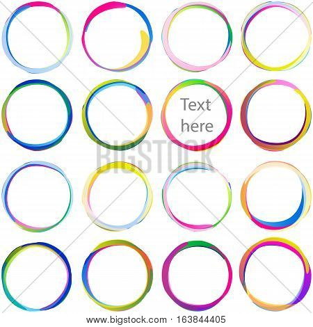 Colored text blobs from overlapping circles; Arcs rounded multicolored banners Swirled circular medals and labels; Vector icons set Eps10