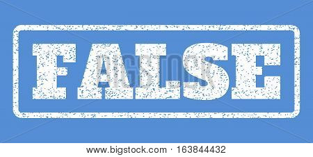 White rubber seal stamp with False text. Vector tag inside rounded rectangular frame. Grunge design and scratched texture for watermark labels. Horisontal emblem on a blue background.