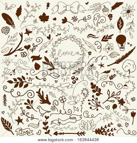 Hand Drawn Vector Decoration Collection. Easy to manipulate, re-size or colorize.