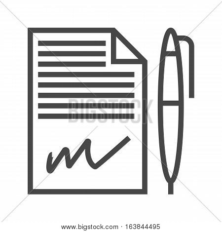 Contract Thin Line Vector Icon Isolated on the White Background.