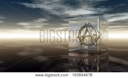 metal anarchy symbol in glass cube - 3d rendering