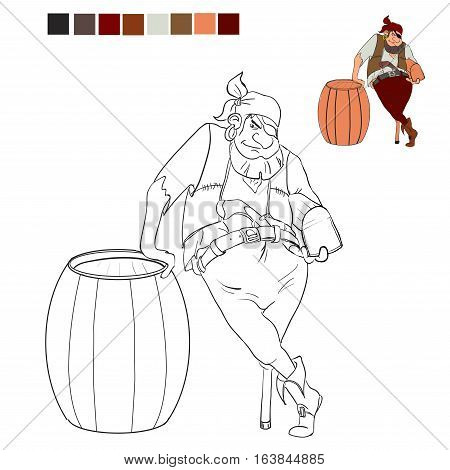Coloring book pirate who holds a treasure chest and leans on the barrel.