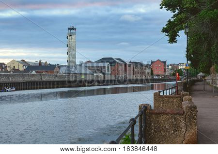 view of the river Exe in Exeter. Evening. Devon. UK