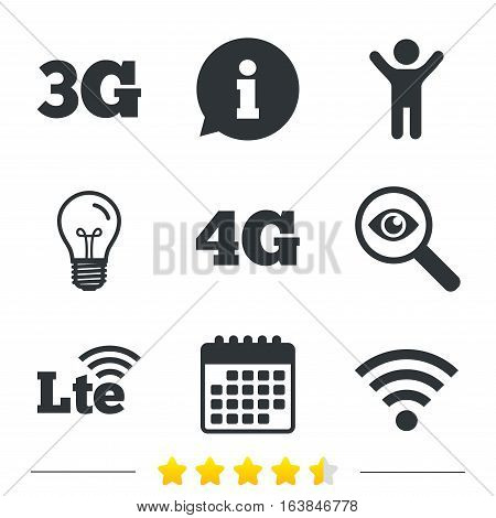 Mobile telecommunications icons. 3G, 4G and LTE technology symbols. Wi-fi Wireless and Long-Term evolution signs. Information, light bulb and calendar icons. Investigate magnifier. Vector