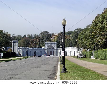 View of Women in Military Service Memorial in Arlington National Cemetery in Arlington USA October 18 2004