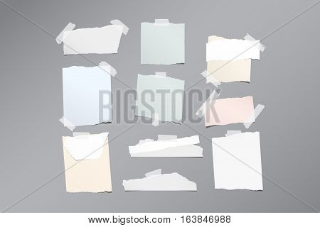 Pieces of different size ripped note, notebook, copybook paper sheets stuck with sticky tape on gray pattern.