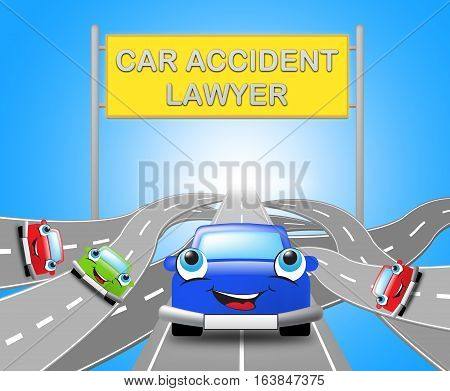 Car Accident Lawyer Shows Auto Solicitor 3D Illustration