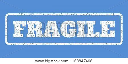 White rubber seal stamp with Fragile text. Vector caption inside rounded rectangular banner. Grunge design and unclean texture for watermark labels. Horisontal sticker on a blue background.