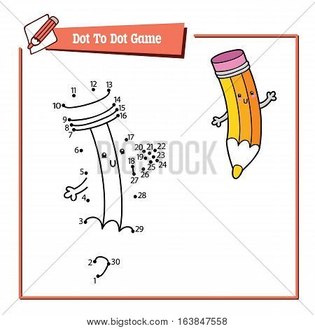 Vector illustration of dot to dot educational puzzle game with happy cartoon pencil for children