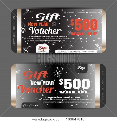 Vector new year gift voucher on the dark gray gradient background with snowflakes and snow.