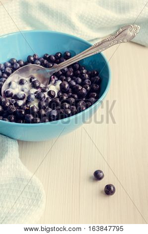 Freshly picked blueberries in a blue bowl with cream. Blueberries with yogurt. Juicy and fresh Bilberry on white wooden table. Healthy breakfast. Concept for healthy eating and nutrition. Selective focus.