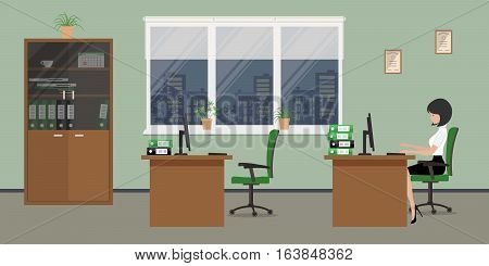 Web banner of an office worker. The young woman is sitting near the computer in the evening time. There is furniture in brown color on a windows background in the picture. Vector flat illustration
