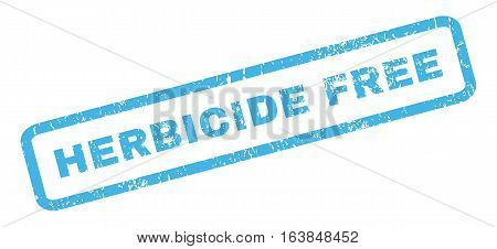 Herbicide Free text rubber seal stamp watermark. Tag inside rectangular shape with grunge design and dust texture. Slanted glyph blue ink emblem on a white background.