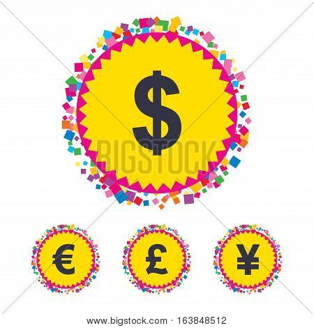 Web buttons with confetti pieces. Dollar, Euro, Pound and Yen currency icons. USD, EUR, GBP and JPY money sign symbols. Bright stylish design. Vector