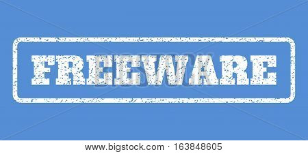 White rubber seal stamp with Freeware text. Vector tag inside rounded rectangular frame. Grunge design and unclean texture for watermark labels. Horisontal sign on a blue background.