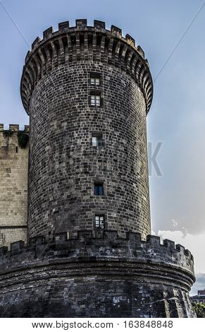 Medieval old castle of Maschio Angioino, Castel Nuovo (New Castle) in Naples, Italy