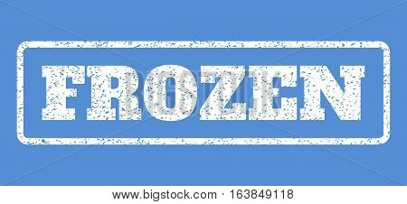 White rubber seal stamp with Frozen text. Vector caption inside rounded rectangular frame. Grunge design and dust texture for watermark labels. Horisontal sticker on a blue background.