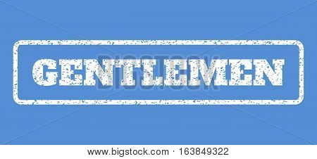 White rubber seal stamp with Gentlemen text. Vector tag inside rounded rectangular frame. Grunge design and unclean texture for watermark labels. Horisontal emblem on a blue background.