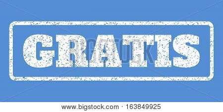 White rubber seal stamp with Gratis text. Vector tag inside rounded rectangular shape. Grunge design and unclean texture for watermark labels. Horisontal sign on a blue background.
