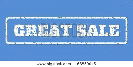 White rubber seal stamp with Great Sale text. Vector message inside rounded rectangular frame. Grunge design and unclean texture for watermark labels. Horisontal sticker on a blue background.